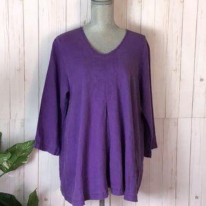 Flax Purple Linen Lagenlook V- Neck Tunic